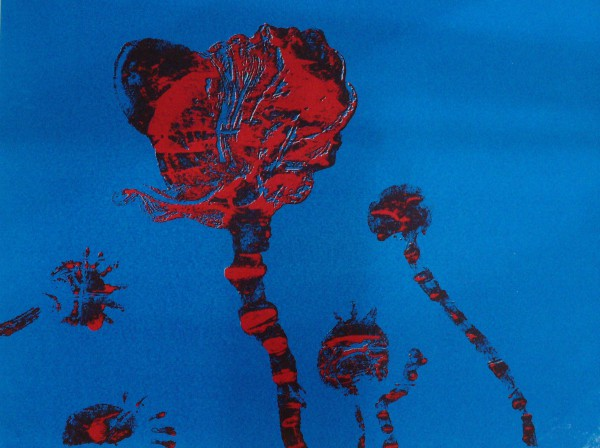 Poppies II Red on Blue