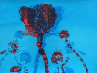 Poppies II Red on Blue Shadow Sold