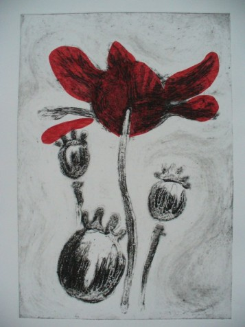 Sky poppy.Collagraph. Sold