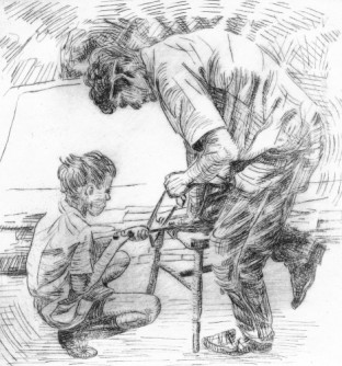 Father and Son. Dry point