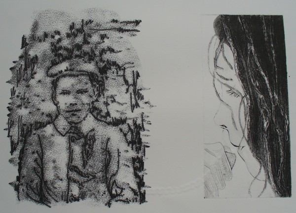 One Hundred Years. Collagraph, monoprint, embossing. NFS
