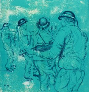 Bampton Morris: Bampton at Whitsun. Drypoint on Screenprint