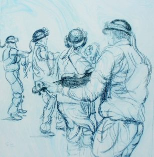 Bampton Morris: Bampton at Whitsun. Drypoint on Marbled Fabriano 5 paper