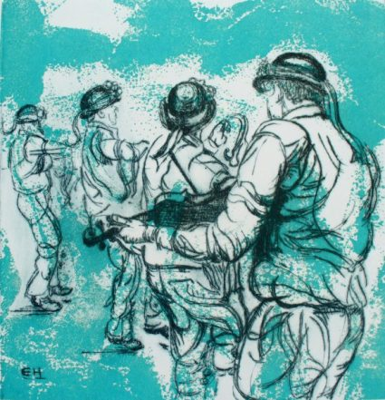 Bampton Morris: Bampton at Whitsun. Drypoint on Screen print