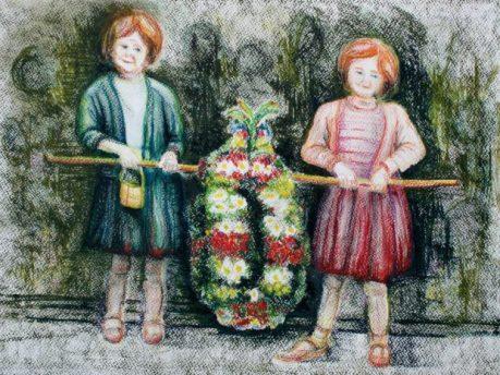 Garland: Bampton at Whitsun. Pastel Drawing