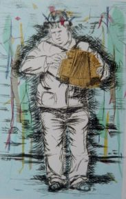 The Box Player: Bampton at Whitsun. Drypoint with Chine Colle