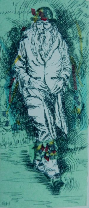 The Dancer: Bampton at Whitsun. Drypoint with Chine Colle