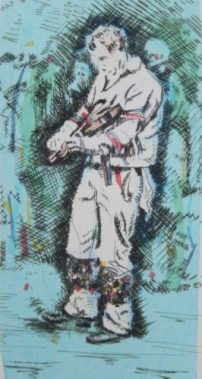 The Fiddle Player: Bampton at Whitsun. Drypoint with Chine Colle